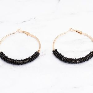Jewelry - Black Gold Beaded Hoop Earrings